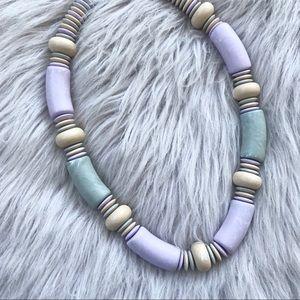 Vintage Lavender Beaded Geometric Necklace